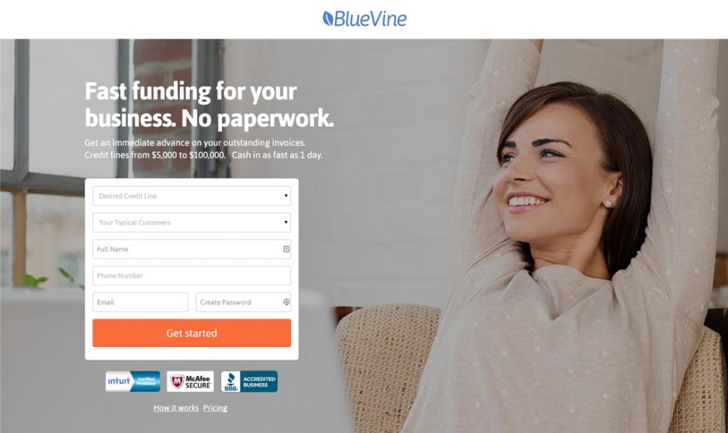 BlueVine Landing Page