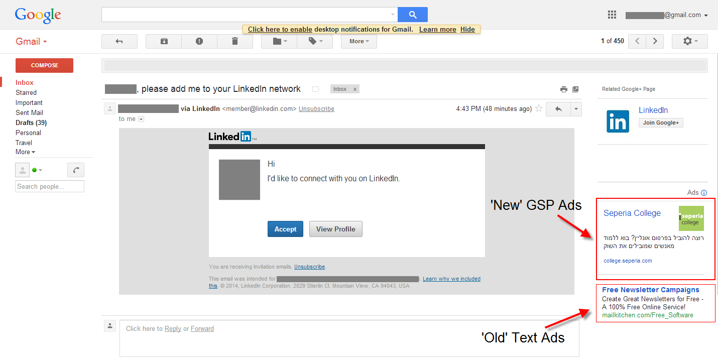 GSP ad in gmail