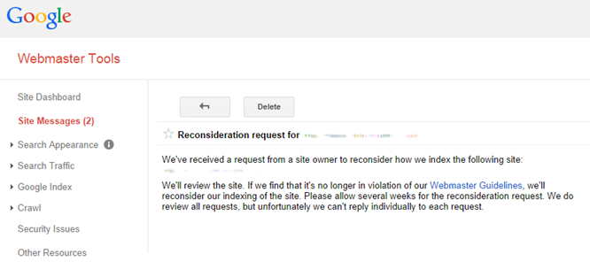 Webmaster Tools reconsideration request