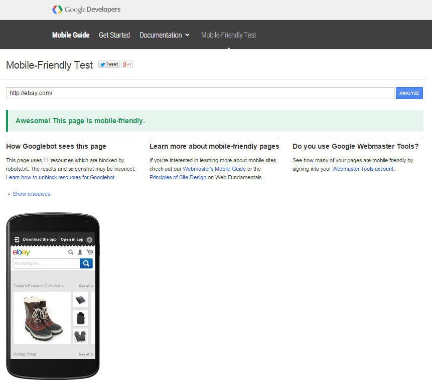 ebay mobile friendly test