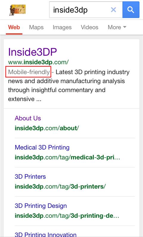 inside3dp SERP mobile friendly